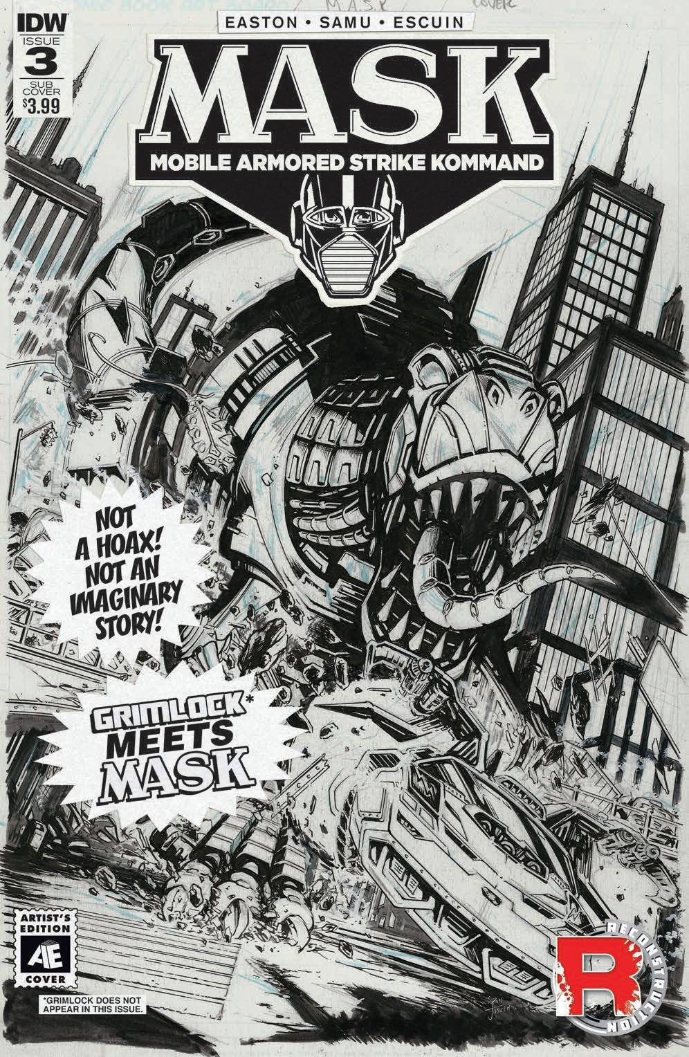 Transformers News: IDW M.A.S.K. #3 Artist Edition Grimlock Variant Cover by Ron Joseph