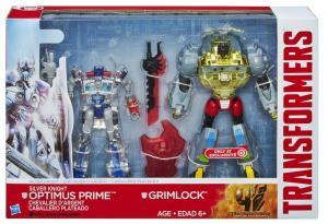Silver Knight Optimus Prime and Grimlock