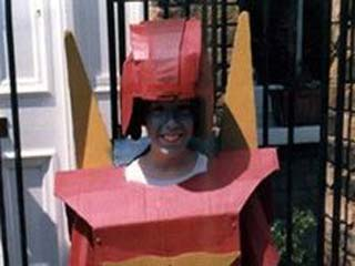 Boy dressed as Rodimus Prime
