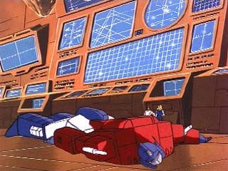 Optimus laying down on the ground