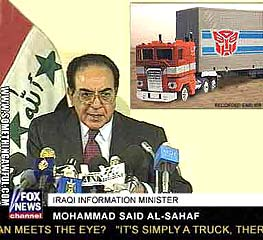 Iraqi Information Minister has conference about Optimus Prime