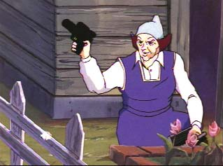 Elderly woman in backyard with flowers and gun