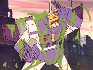 Blitzwing gets covered in green slime!