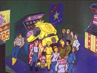 Bumblebee plays an Arcade game