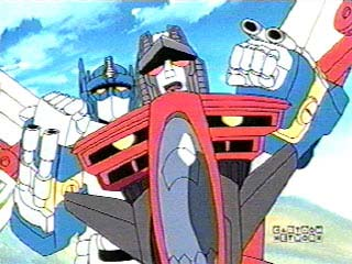 Optimus Prime holds onto Starscream