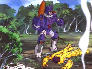 Galvatron standing over Dragstrip