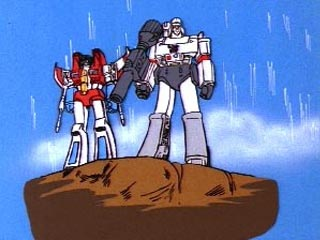 Megatron and Starscream standing on rock