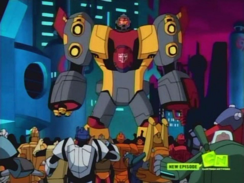 Omega Supreme stands before Autobots