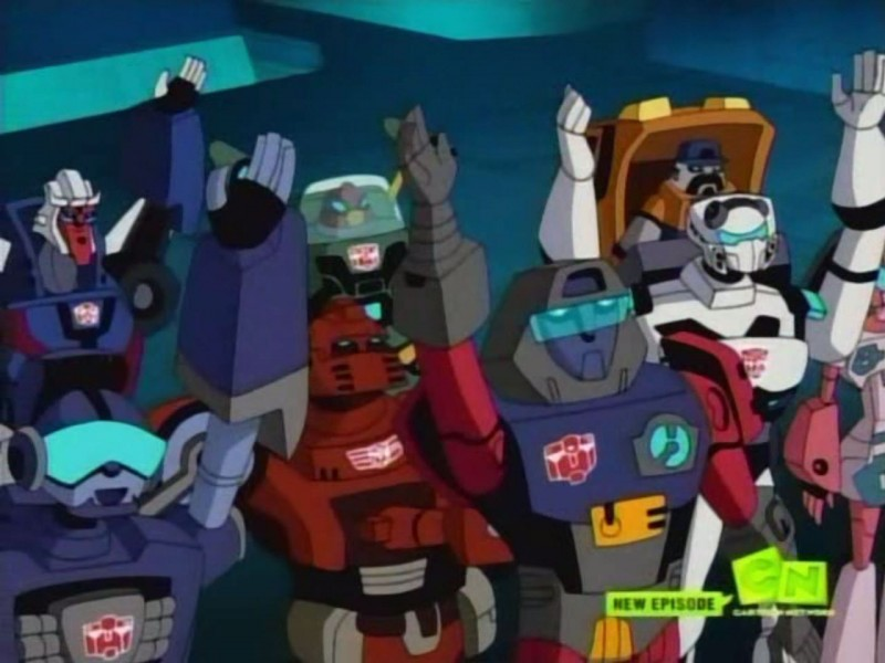 Autobots raising their hands