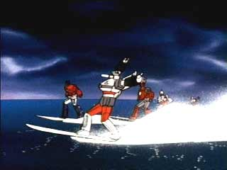 Bluestreak on his surfboard!