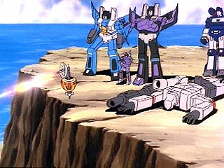 The Decepticons stand on a cliff