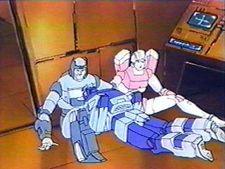 Blurr falls on Kup and Arcee