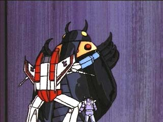Starscream embraces a Lightning Bug weapon