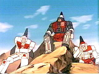Aerialbots sitting on some rocks