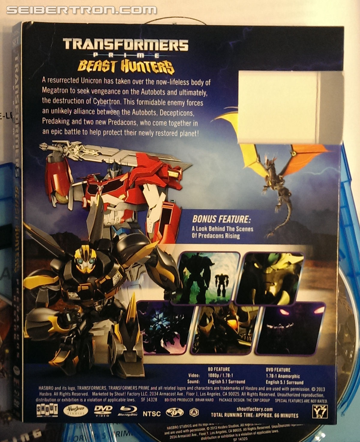Transformers News: Menu video and in-hand pictures of Transformers Prime Beast Hunters Predacons Rising Blu-Ray