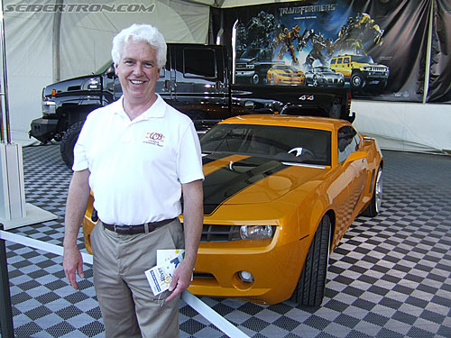 Ryan's Dad in front of Bumblebee and Ironhide