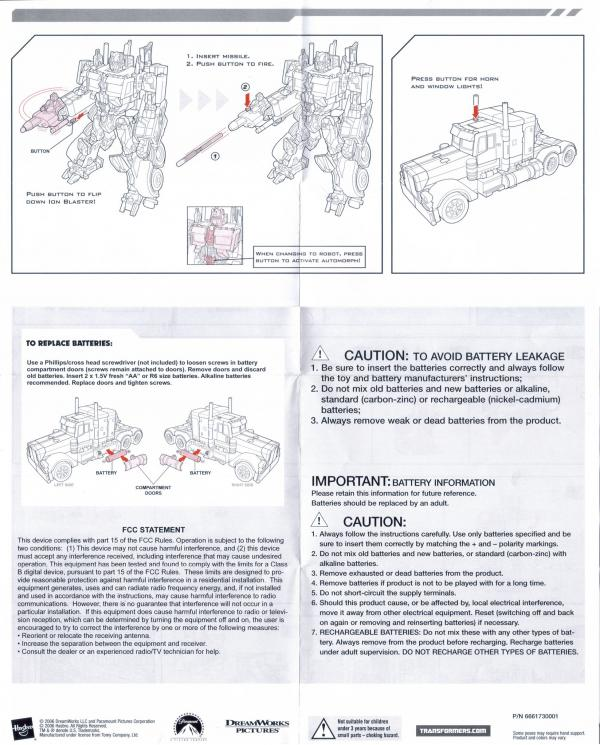 Instructions for Optimus Prime