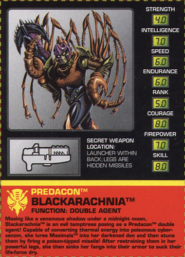 Transformers Tech Spec: Blackarachnia