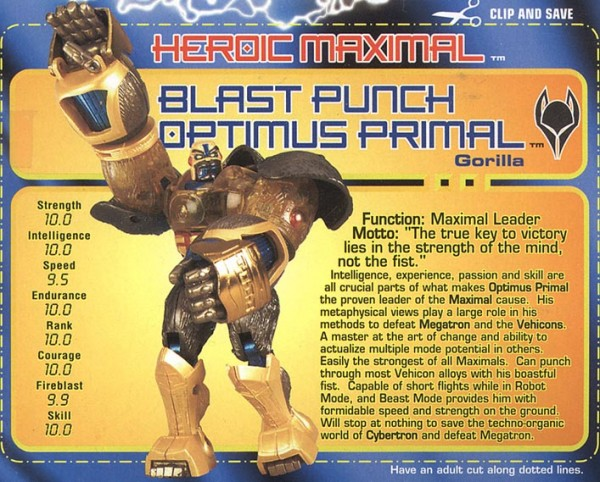 Transformers Tech Spec: Blast Punch Optimus Primal