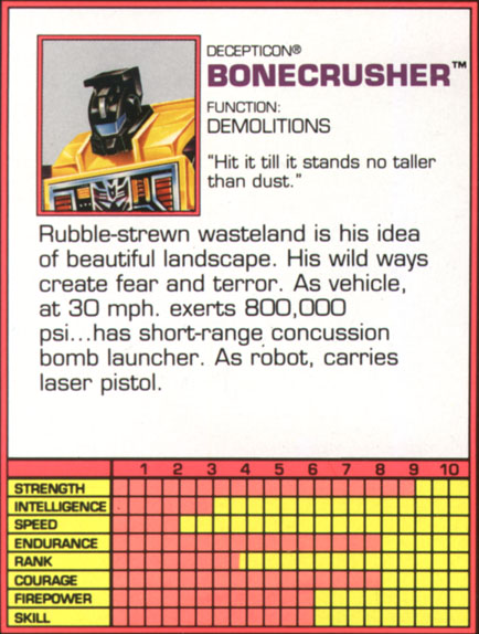 Transformers Tech Spec: Bonecrusher