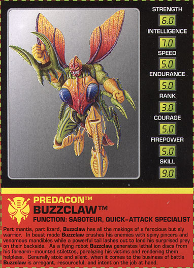 Transformers Tech Spec: Buzzclaw