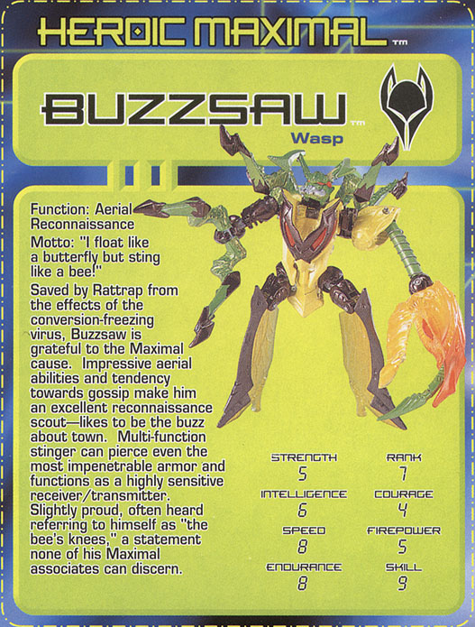 Transformers Tech Spec: Buzzsaw