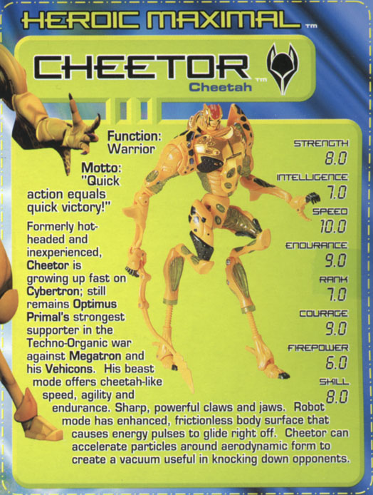 Transformers Tech Spec: Cheetor
