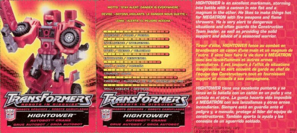 Transformers Tech Spec: Hightower