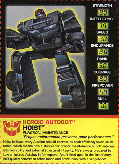 Transformers Tech Spec: Hoist
