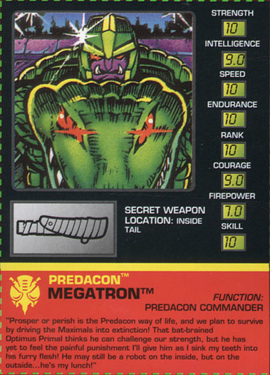 Transformers Tech Spec: Megatron (Alligator)