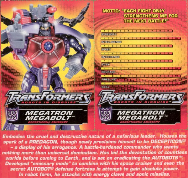 Transformers Tech Spec: Megatron Megabolt