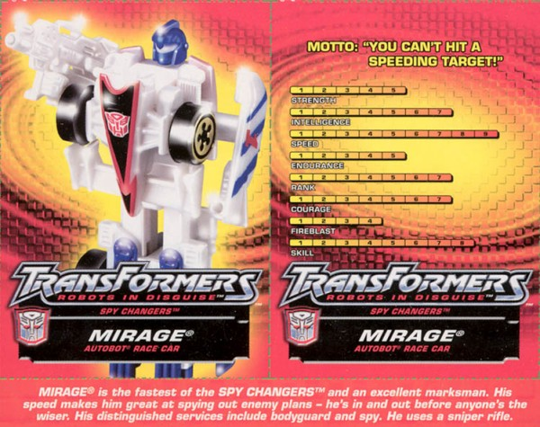 Transformers Tech Spec: Mirage