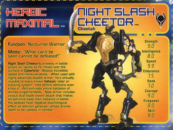 Transformers Tech Spec: Night Slash Cheetor