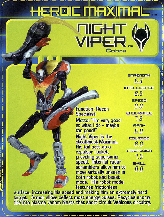 Transformers Tech Spec: Night Viper