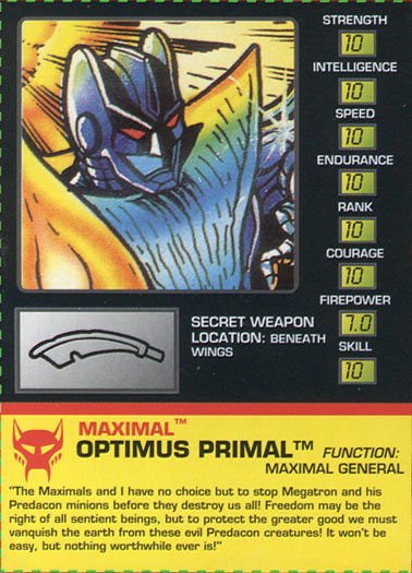Transformers Tech Spec: Optimus Primal (Bat)