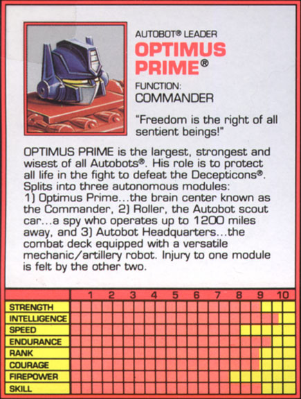 Transformers Tech Spec: Optimus Prime