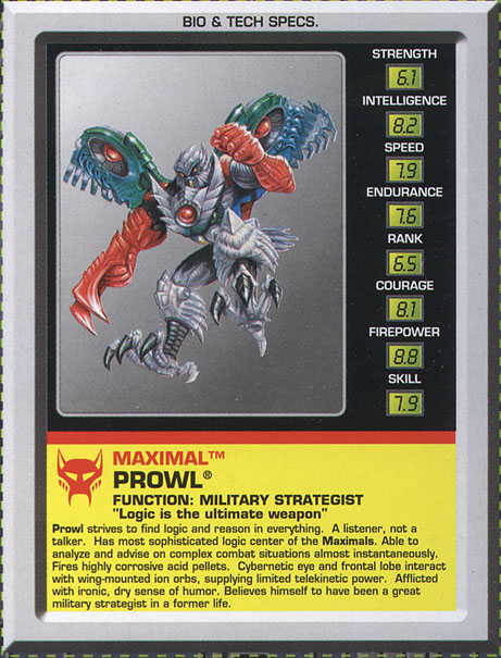 Transformers Tech Spec: Prowl
