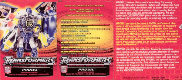 Transformers Tech Spec: Supercharged Prowl