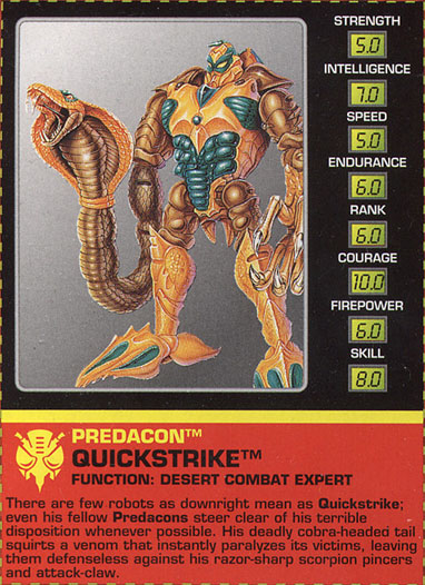 Transformers Tech Spec: Quickstrike