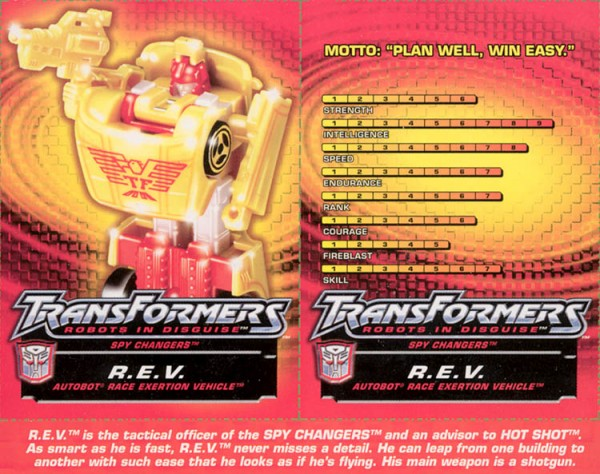 Transformers Tech Spec: R.E.V. (Race Evolution Sportscar)