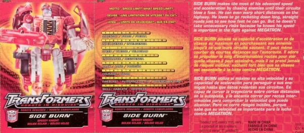 Transformers Tech Spec: Supercharged Side Burn