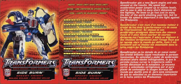 Transformers Tech Spec: Side Burn