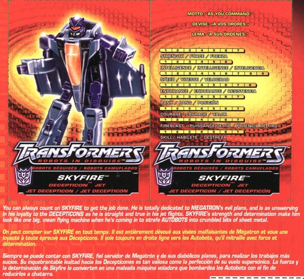 Transformers Tech Spec: Skyfire