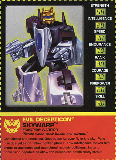 Transformers Tech Spec: Skywarp