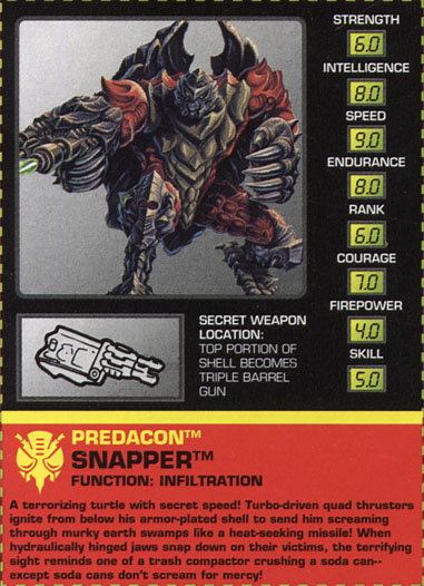 Transformers Tech Spec: Snapper