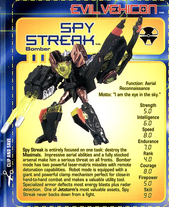 Transformers Tech Spec: Spy Streak