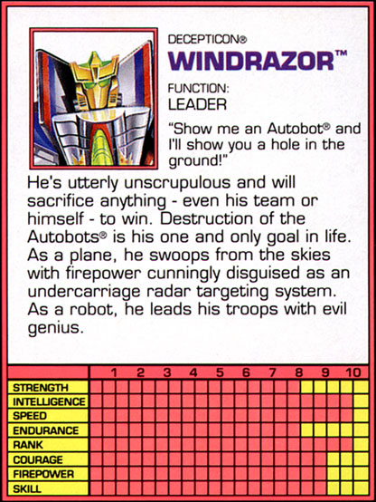 Transformers Tech Spec: Windrazor (Tornado)